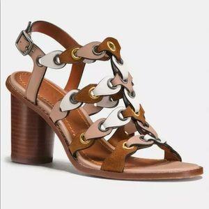Coach heels leather tan brown link sandals